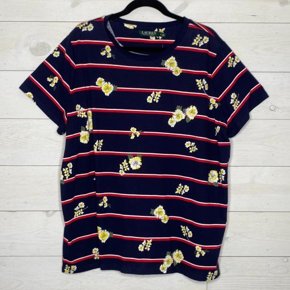 Lauren Ralph Lauren Plus Size Floral Tee Shirt 3X